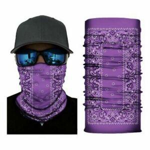 Purple Bandana Paisley Face Balaclava Scarf Neck Fishing Gaiter Headwear Mask