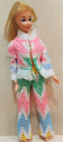 VINTAGE BARBIE DOLL OUTFIT - HANDMADE - 2 pc. PANTS AND TOP - BELL BOTTOM