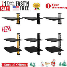 2 Tier Dual Glass Shelf Wall Mount for DVD Players/ Cable Boxes/ TV Accessories