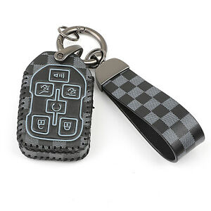 Black Leather 6 Buttons Key Fob Cover Case for GMC Yukon XL Chevrolet Tahoe