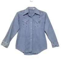 Ely Glad Rags VTG 70's Pearl Snap Western Shirt Womens Size S Small Blue Painted