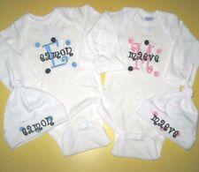 Personalized Monogram Baby Boy Girl Name TWINS HAT & CREEPER Romper T Shirt SET
