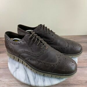 Cole Haan Zerogrand Chestnut Brown Leather Wingtip Oxfords Mens Size 11