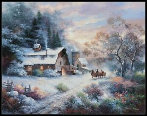 Snowy Evening Outing - Chart Counted Cross Stitch Pattern Needlework Xstitch DIY
