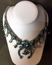 "VINTAGE NAVAJO STERLING & TURQUOISE SQUASH BLOSSOM NECKLACE 18"" LONG"