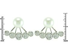 Pearl Stud With Bezel Set  AAA Cubic Zirconia Rhodium Ear Jacket Earrings;HOT