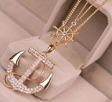 Clear Rhinestone anchor necklace double chain gold toned