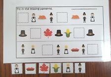 Teach early math skills. Thanksgiving holiday themed Missing Pattern math game.