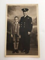 WW1 NAVY Officer With Kid Real Photo Postcard UnPosted 1915-1930 (lot#14) RARE