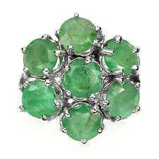 28.65 CT NATURAL ROUND 6mm.RICH GREEN EMERALD BRAZIL 14K ON  925 SILVER RING 7.5