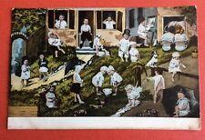 CPA. 1903. Bébés Multiples. Colonie. Pots de Chambre. Peintre. Parapluie.