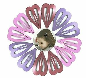 24 x Pink Purple and Mauve Heart Shaped Small Metal Hair Snap Clips Girls Kids