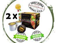 Lot of 2 100% KONA COFFEE 12 K-Cups Single Serve Pod Keurig - HUALALAI ESTATE