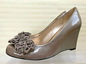 Antonio Melani Taupe Patent Leather Wedge Pump Shoes 6.5 M