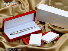 CARTIER DIABOLO FÜLLER FOUNTAIN PEN STYLO PLUME STEEL & PLATINUM & 18K GOLD NIB