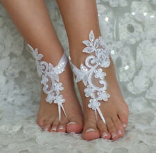 White Lace Bridal Anklets Sequins Wedding Barefoot Sandals Beach Foot Chain