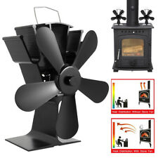 5 Blades Heat Powered Stove Fan For Wood Log Burner Fireplace Fuel Saving Eco