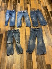 Lot Of 5 Pairs Of Boys 5T Jeans Holy Knees Wear, Repair Or Craft