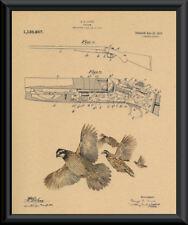 1915 Steven's Shotgun Patent & Quail Reprint On 100 Year Old Paper *146