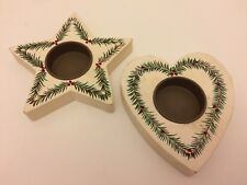 Pair of Wooden Cream Holly+Berries Heart & Star Xmas Tealight Holders