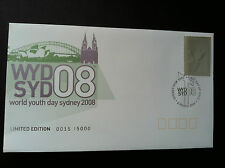 2008 WORLD YOUTH DAY [WYD] SYDNEY SILVER STAMP COVER PNC NUMBERED: 15