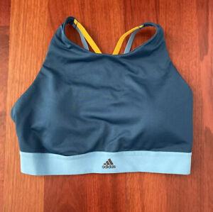 adidas Women's Sports Bra Blue Yellow Medium Criss Cross Straps