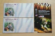 2010 Malaysia Tiger Korea Joint Issue Blank FDC (Lot of 2 covers)