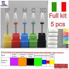 Kit completo 5 punte per fresa in ceramica manicure pedicure. XC C M F XF