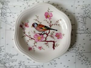 Royal Worcester Palissy Trinket Dish, 105 mm, Goldfinch with Blossom Pattern