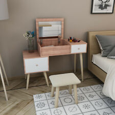Modern Make Up Table Study Desk White Vanity With Drawers / Stool Bedroom