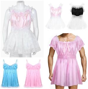 Sissy Mens French Maid Costume Lace Satin Crossdress Lingerie Dress Nightwear