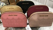 Michael Kors Jet Set Travel Pouch / Cosmetic Case in Laser Cut Saffiano Leather