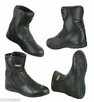 MCW Gear Black Leather Touring Motorcycle Motorbike Waterproof Boots Winter New