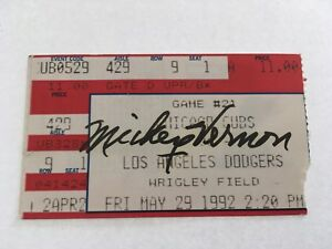 Mickey Vernon Signed 1992 5/29/92 Chicago Cubs Los Angeles Dodgers Ticket Stub