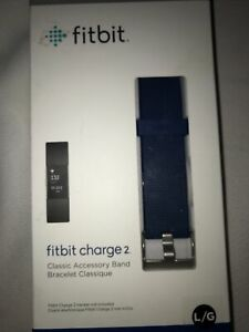 Authentic NEW Fitbit Charge 2 Blue Replacement Accessory Band Size Large