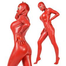 Latex Catsuit Gummi Zentai Anzug Cosplay Rubber Club Rot Overall Hood Bodys0,4mm