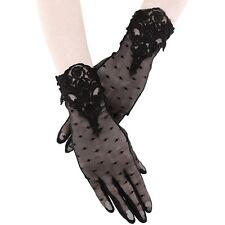 Restyle Black Lace Mesh Gloves Guipure Dotted Elegant Gothic Lolita Victorian