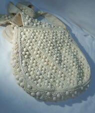 Vintage 1960's White Hobo Beaded Style Look Purse Shoulder Bag