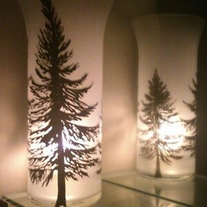 Candle Holder Art Set Of 2Tall Frosted Glass Vase With Christmas Trees