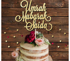UMRAH MUBARAK CUSTOM NAME GLITTER CAKE TOPPER, ISLAMIC CAKE DECORATION
