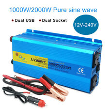 1000w/2000w pure sine wave power inverter DC 12v to AC 240v camping travel gift