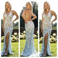 NWT primavera couture 3221 open back Powder blue floral print emblished gown