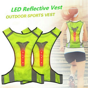 Outdoor Motorcycle LED Light Up Safety Reflective Vest Running Cycling Jacket !