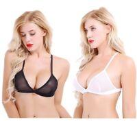 Women Mesh Sheer Triangle Bralette Bra Top Lingerie Strappy Wire-free Unline Bra