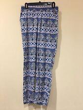 H&M DIVIDED Size 6 Blue Lace Print Elastic Waist Jogger Pants