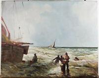 Unb. (20.Jhd.). Fischer am Strand, wohl niederländisch. Öl auf Leinwand