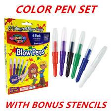 Colour Magic Blow Pens Kids Color Changing Blow Pen Stencils Washable Non Toxic