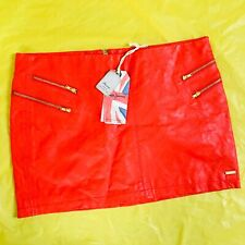 Pepe Jeans London Size L Red Faux Leather Mini Skirt BNWT Candy Eye RRP €70