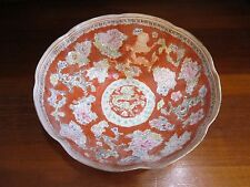 Oriental Eggshell Dragon Medallion Bowl 9 1/2 X 3 1/2 Character Marked