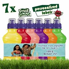 7 x Personalised Moana Vaiana Fruit Shoot Stickers Bottle Labels Birthday Party